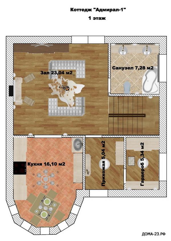 План первого этажа. Дом 120 м.кв., 2-этажный. На 1 хозяина.