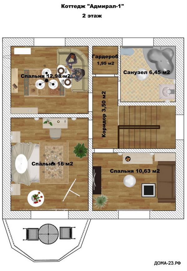 План второго этажа. Дом 120 м.кв., 2-этажный. На 1 хозяина.